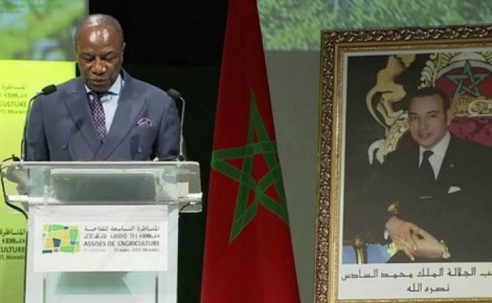 """الفا كوندي الرئيس الغيني ورئيس الاتحاد الإفريقي، في افتتاح المناظرة التاسعة للفلاحة بمدينة مكناس : يوجه رسالة قوية إلى الغرب، مفادها أنّ إفريقيا """"لا تريد منه أن يوجّهها أو يفرض عليها املاءاته""""."""