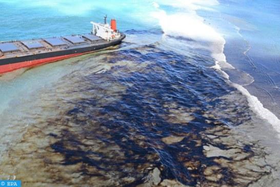 تسرب حوالي 1000 طن من النفط من سفينة شحن جنحت قبالة موريشيوس